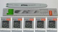 """Stihl Führungsschiene Rollomatic 35cm 3/8""""P 1,1mm 3005 000 3909 +5x Stihl Sägeketten"""