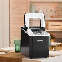 COSTWAY Eiswürfelmaschine Ice Maker, Eismaschine, Eiswürfelbereiter inkl. Eiswürfelschaufel / 9 Eiswürfel in 8 min / 12kg in 24 Std. / 1,6L Wassertank / 31x22x30 cm Schwarz