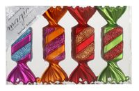 Christbaumschmuck Bonbons Kunststoff 10.5cm, 4 Stück, Farbe:Mille-Fiori ( bunt )