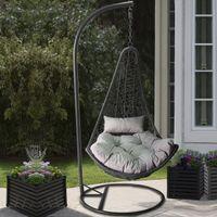 Mirjan24 Hängesessel Boho, Stilvoll Hängestuhl, Gartensessel mit Stahlskelett, Hängekorb (Farbe: Grau,  Kissen: Grau)