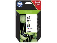 HP 62 Twin Pack - 2er-Pack - Schwarz, Tricolor HP