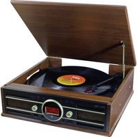 Soundmaster PL585BR Nostalgie-Plattenspieler mit DAB+/UKW, USB, AUX und Encoding