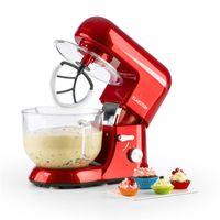 Klarstein Bella Rossa 2G Küchenmaschine , 1200 W / 1,6 PS in 6 Leistungsstufen mit Pulsfunktion , Geschmacksecht & BPA-frei: 5,2 l Glasschüssel mit Henkel für bis zu 2,5 kg Teig , 3-tlg. Zubehör: Rühr-, Knethaken, Schneebesen , rot