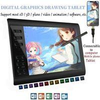 Grafiktablett Micro USB 10 * 6 Zoll PLUS ohne Speicherkarte 12 Express Keys Digital Painting Wiederaufladbarer Stift