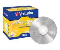 Verbatim DVD+RW Matt Silver 4x, DVD+RW, Polycarbonat, Cyanine/Azo Dye, Mattsilber, Schmuckkasten