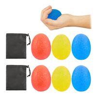 relaxdays 6 x Eiförmige Griffbälle, Quetschball, Fingertrainer, Antistressei, Handtraining