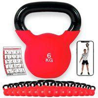 Kettlebell 2-30kg mit hochwertiger Neoprenhülle inkl. Workout I Kugelhantel Gewicht: 6 kg