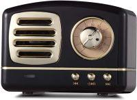Mini  Radio Retro Bluetooth Lautsprecher, Radio aus Walnussholz mit klassischem Stil, tragbares Radio Starke Bassverstärkung,   (Schwarz)
