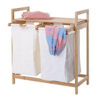 Wäschesammler HWC-B83, Laundry Wäschesortierer Wäschekorb Wäschebehälter, Bambus 2 Fächer 74x64x33cm 70l  weiß