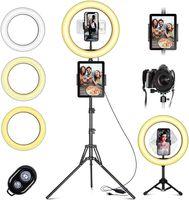 """LED Ringlicht Fuelllicht mit handy stativ, 10"""" Selfie Ringleuchte mit Fernbedienung und Doppel Handyhalter mit 3 Farbe&10 Helligkeitsstufen für YouTube TikTok Fotografie Live-Streaming [Tischstativ inklusive]"""