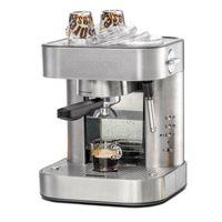 Espresso Maschine EKS 2010 ElPresso automatico, 19 Bar Pumpendruck, elektronische Bedienung, programmierbare Tassenfüllmengen, 2-Loch Siebträger, Edelstahl Filtereinsatz für 1 bzw. 2 Tassen