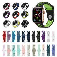 Apple Watch Premium Silikon Armband Serie 1 2 3 4 5 6 Sportarmband 32 Farben Neu, Farbe:Black Purple, Gehäusegrösse:42/44mm