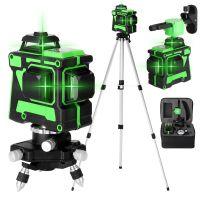 Kreuzlinienlaser profi  3D Laser Level 12 Lines Grünes 360º Automatische Rotationslaser(Arbeitsbereich: 30 m) mit 1,5 m 3 Höhen verstellbarem stativ