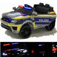 Deutsche POLIZEI Kinderauto Polizeiauto mit Funkgerät Sirene und Martinshorn Bluetooth Kinderfahrzeug Kinder Elektroauto Gefedert Hilfsrollen