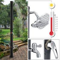 Solardusche Victoria 20 l – Gartendusche mit Regendusche und Thermostat – schwarz – Gartenschlauch Anbindung – justierbare Duschkopf-Halterung | Juskys