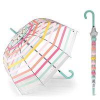 Esprit Long AC Domeshape Stripes transparenter Automatik Regenschirm 53223