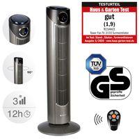 TECVANCE Tower Fan PLUS - Turmventilator mit Fernbedienung, Säulenventilator leise, 80° Oszillation (schwenkbar)