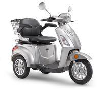 Elektroroller LuXXon E3800 - Elektro Dreirad für Senioren mit 800 Watt, max. 20 km/h, Reichweite bis zu 63 km, silber