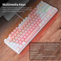 87 Tasten Kabelgebundene mechanische Tastatur Mechanische Tastatur mit gemischtem Licht und mechanischem blauen Schalter Aufhaengungstaste Pink + Weiss