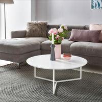 WOHNLING Design Couchtisch MDF Holz weiß matt Gestell Metall ø 80 cm   Wohnzimmertisch lackiert Sofatisch modern   Kaffeetisch rund Loungetisch