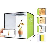 PULUZ Lightbox Mini-Fotostudio-Leuchtkasten mit 6 farbigen Hintergruenden Foto-Shooting-Zelt-Kit LED-Licht Fotobeleuchtung