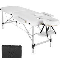 tectake 2 Zonen Massageliege mit Polsterung und Aluminumgestell - weiß