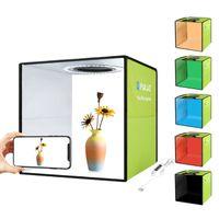 30 cm x 30 cm x 30 cm tragbares einfaches Klappstudio, Ring-LED-Lichtschusstisch mit 6-farbigem Hintergrund (schwarz / weiß / gelb / rot / grün / blau)
