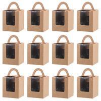 20 Stück Cupcake Box Set Lebensmittelqualität Individuelles transparentes Sichtfenster mit Griff Tragbare Mehrzweck-Papierbox für Keks-Muffin-Bäckerei
