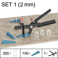 Fliesen Nivelliersystem, Verlegesystem, Verlegehilfe, Set 1 (250 Laschen, 100 Keile, Zange), 2 mm