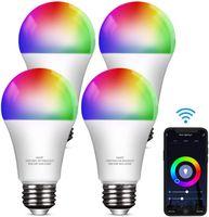 Smart Glühbirne E27, 9W LED Lampen RGB Dimmbar Birne  Alexa und Google Home Farbwechselbirne , 4er