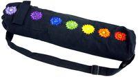 Yogamatten-Tasche 7 Chakra - Schwarz, Unisex - Erwachsene, Baumwolle, 65*15*15 cm, Taschen für Yogamatten