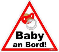 1 Auto-Aufkleber Baby an Bord I kfz_223 I 16 x 14 cm groß I Mädchen Sticker mit Schnuller I Hinweis-Aufkleber Achtung Vorsicht dreieckig wetterfest