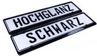 2 Stück Kennzeichenhalter in Schwarz Hochglanz STAHL PULVERBESCHICHTET *NEUHEIT*