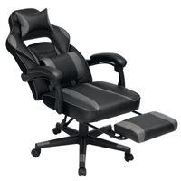 SONGMICS Bürostuhl mit Fußstütze ergonomisch höhenverstellbar bis 150 kg belastbar Gamingstuhl Schreibtischstuhl 90-135° Neigungswinkel schwarz-grau OBG073B03