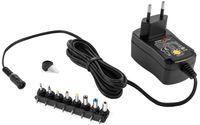 Poppstar Universal Netzteil 3 / 4,5 / 5 / 6 / 7,5 / 9 / 12 V 1A (1000mA) und 8 Adapter-Stecker, LED, 150cm