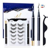 VADOOLL6 Paar Magnetische Wimpern, 2 pcs Magnetic Eyeliner, Falsche Wimpern Magnetisch 3D Wiederverwendbar Magnet Wimpern mit Magnetische Eyeliner Set Wasserdichtem Langlebigem