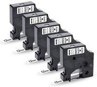 Xemax 5x Kompatibel Schriftband Ersatz für Dymo D1 45013 45013s S0720530 Schwarz auf Weiß für DYMO LabelManager LM160 LM280 LM210D LM360D LM420P LabelPoint 250 LabelWriter 450 Duo, 12mm x 7m