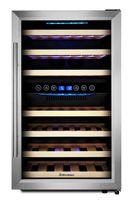 Kalamera Weinkühlschrank,Freistehend, 45 Flaschen,120 Liter, 2 Zonen, Kompressor ,LED-Display, Edelstahl Glastür KRC-45BSS