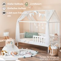 """Alcube praktisches, variables Hausbett 160x80 cm Modell """"Heim"""" mit Roll-Lattenrost und Querstange für Vorhänge Weiß"""