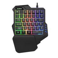 Einhändige mechanische Gaming-Tastatur, 35 Tasten Einhändige mechanische Mini Gaming Tastatur Ergonomischer Gamecontroller mit Hintergrundbeleuchtung