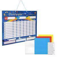 Navaris abwischbare Belohnungstafel magnetisch 40x32cm - Kinder Aufgaben Tafel - Magnettafel inkl. 250 Sternchen Magnete Stift - Sterne Aufgabenplan