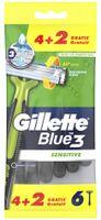 Gillette Einwegrasierer Blue3 Sensitive 4+2 Gratis