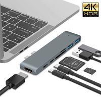 7 In 1 USB-C Hub Dual Type-C Kartenleser HDMI 4K HD Adapter für MacBook Pro