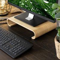 Navaris Bildschirm Holzständer TV Ständer - Computer Tisch Schreibtisch Monitorständer Bank - Schreibtischaufsatz aus Bambus in Hellbraun