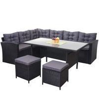 Poly-Rattan-Garnitur HWC-A29, Gartengarnitur Sitzgruppe Lounge-Esstisch-Set, schwarz  Kissen dunkelgrau, mit 2x Hocker