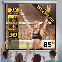 Beamerleinwand 152x152cm - in verschiedenen Größen, einfache Montage, Format 1:1, 4:3, 16:9, HD 4K 3D - Rolloleinwand, Projektionsleinwand, Heimkino, Kinoleinwand