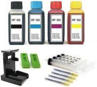 Druckerpatronen Nachfüllset für HP 302 black  und HP 302 color Patronen  - 4 x 100 ml Nachfülltinte black cyan magenta yellow mit Zubehör und Befüllanleitung