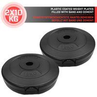 Physionics® Gewichtsscheiben - 2 x 10 kg,  Ø 27 mm, Kunststoff, Schwarz - Gewichte Hantelscheiben