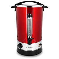 Navaris Glühweinkocher Heißwasserspender aus Edelstahl - 15l - mit Thermostat Füllstandanzeige Zapfhahn - Glühwein Heißgetränkeautomat Rot