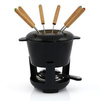 BBQ-Toro 13-teiliges Gusseisen Fondue Set für 6 Personen   1 L   emailliert schwarz